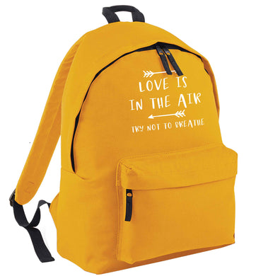 Love is in the air try not to breathe mustard adults backpack