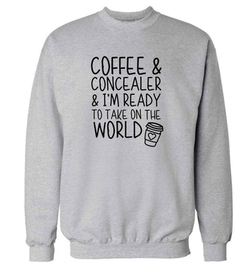 Coffee and concealer and I'm ready to take on the world adult's unisex grey sweater 2XL