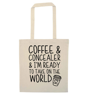 Coffee and concealer and I'm ready to take on the world natural tote bag