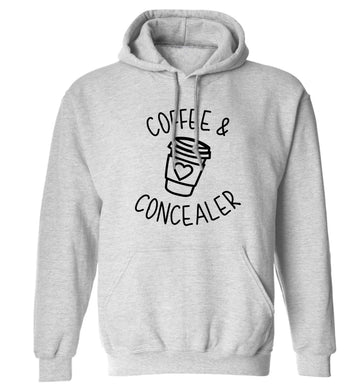 Coffee and concealer adults unisex grey hoodie 2XL