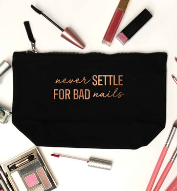 Never settle for bad nails - rose gold black makeup bag