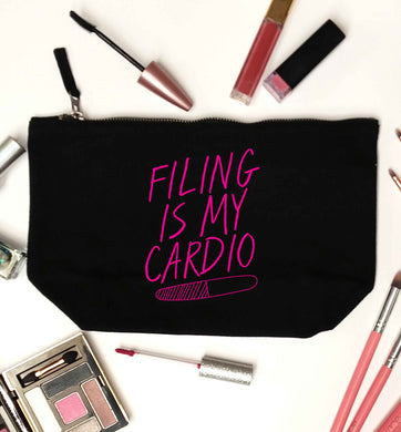 neon pink filing is my cardio black makeup bag