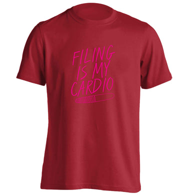 neon pink filing is my cardio adults unisex red Tshirt 2XL