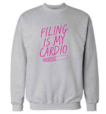 neon pink filing is my cardio adult's unisex grey sweater 2XL