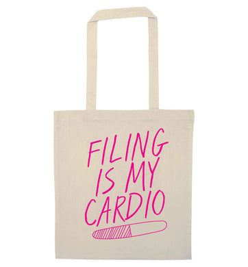neon pink filing is my cardio natural tote bag