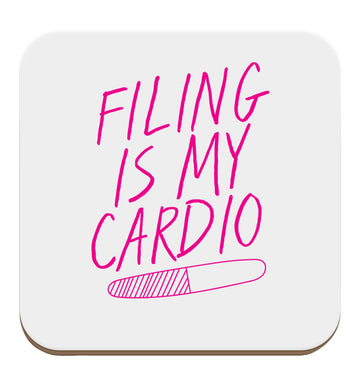 neon pink filing is my cardio set of four coasters