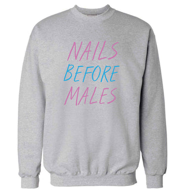Nails before males adult's unisex grey sweater 2XL