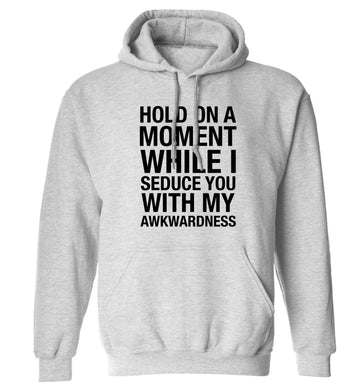 Hold on a moment while I seduce you with my awkwardness adults unisex grey hoodie 2XL