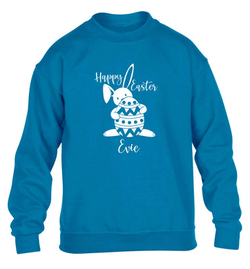 Happy Easter - personalised children's blue sweater 12-13 Years