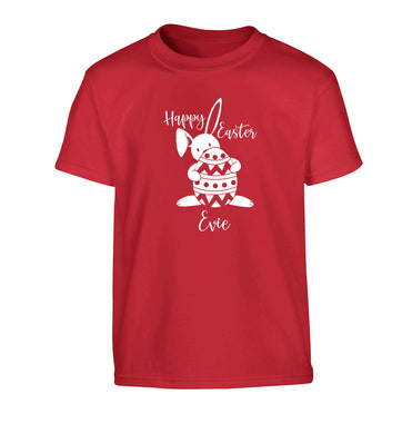 Happy Easter - personalised Children's red Tshirt 12-13 Years
