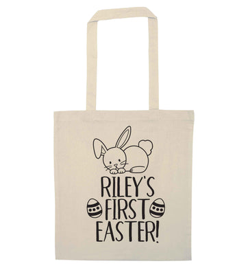 Personalised first Easter natural tote bag