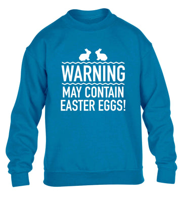 Warning may contain Easter eggs children's blue sweater 12-13 Years