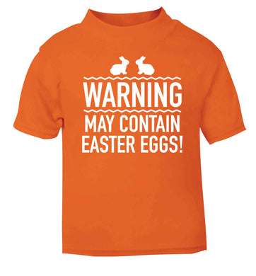 Warning may contain Easter eggs orange baby toddler Tshirt 2 Years