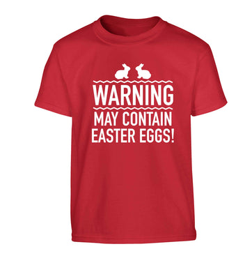 Warning may contain Easter eggs Children's red Tshirt 12-13 Years
