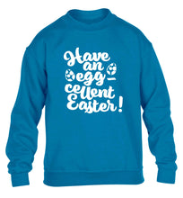 Have an eggcellent Easter children's blue sweater 12-13 Years