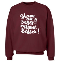 Have an eggcellent Easter adult's unisex maroon sweater 2XL