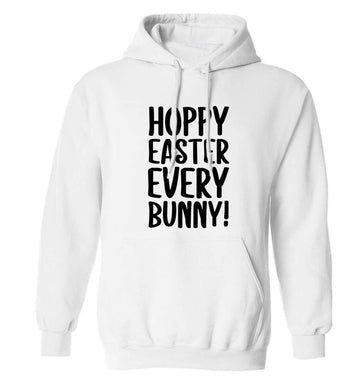Hoppy Easter every bunny! adults unisex white hoodie 2XL