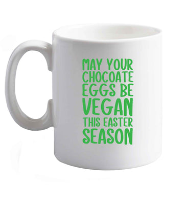 10 oz Easter bunny approved! Vegans will love this easter themed   ceramic mug right handed