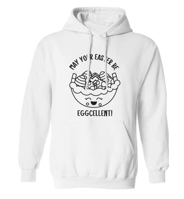 May your Easter be eggcellent adults unisex white hoodie 2XL