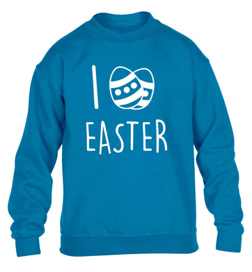 I love Easter children's blue sweater 12-13 Years