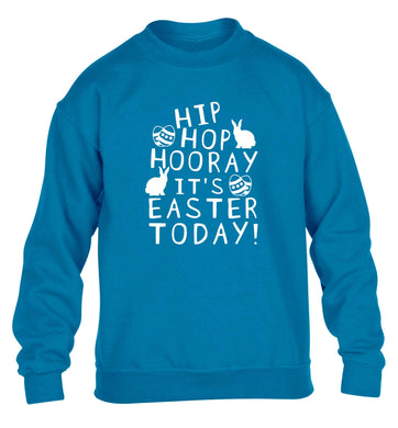 Hip hip hooray it's Easter today! children's blue sweater 12-13 Years