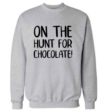 On the hunt for chocolate! adult's unisex grey sweater 2XL