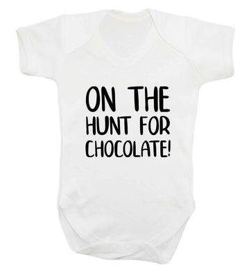 On the hunt for chocolate! baby vest white 18-24 months