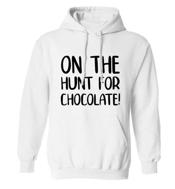 On the hunt for chocolate! adults unisex white hoodie 2XL