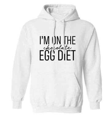 I'm on the chocolate egg diet adults unisex white hoodie 2XL