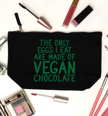 The only eggs I eat are made of vegan chocolate black makeup bag