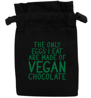 The only eggs I eat are made of vegan chocolate | XS - L | Pouch / Drawstring bag / Sack | Organic Cotton | Bulk discounts available!