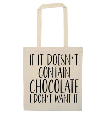If it doesn't contain chocolate I don't want it natural tote bag