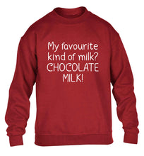 funny gift for a chocaholic! My favourite kind of milk? Chocolate milk! children's grey sweater 12-13 Years