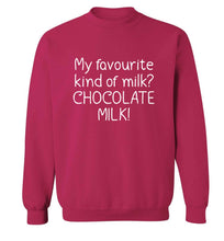funny gift for a chocaholic! My favourite kind of milk? Chocolate milk! adult's unisex pink sweater 2XL