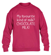 funny gift for a chocaholic! My favourite kind of milk? Chocolate milk! children's pink sweater 12-13 Years