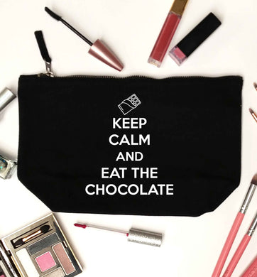 funny gift for a chocaholic! Keep calm and eat the chocolate black makeup bag