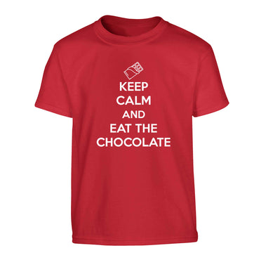 funny gift for a chocaholic! Keep calm and eat the chocolate Children's red Tshirt 12-13 Years