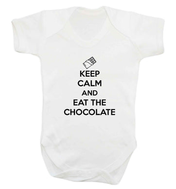 funny gift for a chocaholic! Keep calm and eat the chocolate baby vest white 18-24 months