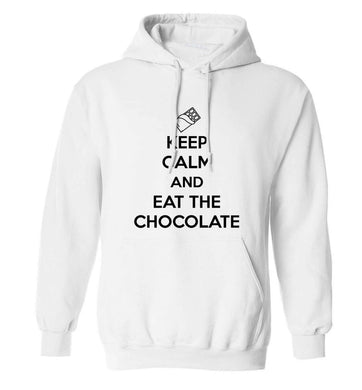 funny gift for a chocaholic! Keep calm and eat the chocolate adults unisex white hoodie 2XL