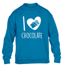 funny gift for a chocaholic! I love chocolate children's blue sweater 12-13 Years