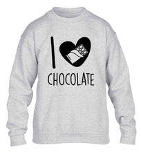 funny gift for a chocaholic! I love chocolate children's grey sweater 12-13 Years