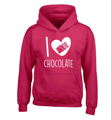 funny gift for a chocaholic! I love chocolate children's pink hoodie 12-13 Years