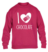 funny gift for a chocaholic! I love chocolate children's pink sweater 12-13 Years