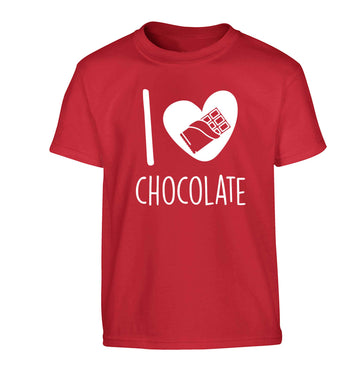 funny gift for a chocaholic! I love chocolate Children's red Tshirt 12-13 Years