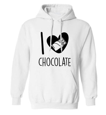 funny gift for a chocaholic! I love chocolate adults unisex white hoodie 2XL