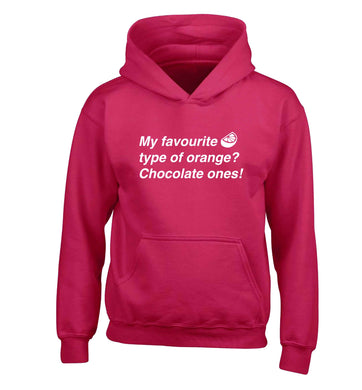 funny gift for a chocaholic! My favourite kind of oranges? Chocolate ones! children's pink hoodie 12-13 Years