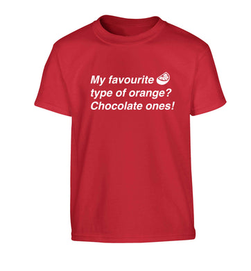 funny gift for a chocaholic! My favourite kind of oranges? Chocolate ones! Children's red Tshirt 12-13 Years