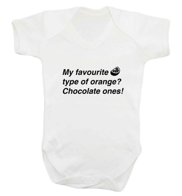 funny gift for a chocaholic! My favourite kind of oranges? Chocolate ones! baby vest white 18-24 months