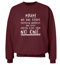 Super funny sassy gift for mother's day or birthday!  Mum no one cooks chicken nuggets and chips like you no one adult's unisex maroon sweater 2XL