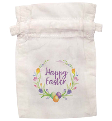 Happy Easter floral wreath | XS - L | Pouch / Drawstring bag / Sack | Organic Cotton | Bulk discounts available!